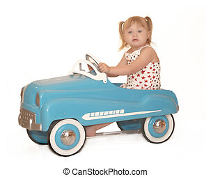 Little Girl Pedal Car 3995 - little girl in pedal car