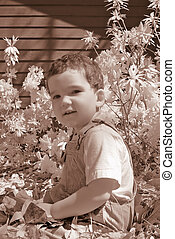 Infrared Boy Toddler - Real infrared shot of a boy playing...