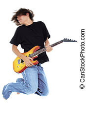 Teen Boy Guitar - Boy Jumping With Electric Guitar. Motion...