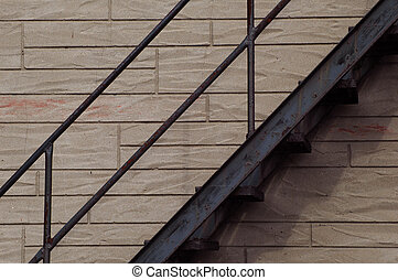 fire escape on a three storey residential building