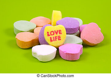 Love Life - Photo of Candy Heart With Love Life Printed On...
