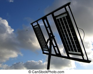 Solar Panels - -- against the sky and clouds