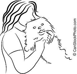 Cuddly Dog - woman cuddling pet dog