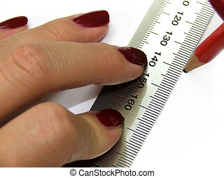 Stationary - ruler - Ruler and white paper and pencil