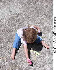 sidewalk chalk child - Toddler child playing with sidewalk...
