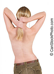 Body #9 - Naked female torso holding her hair