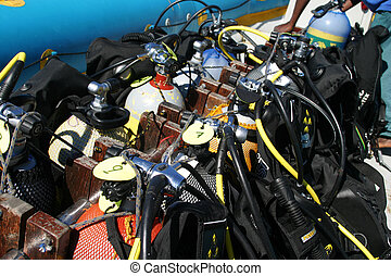 Stacked Scuba Gear - Divers Scuba Gear stacked and tied down...