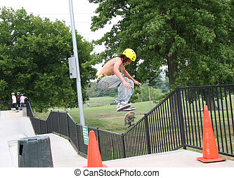 Skateboarder Jumping High