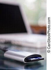 CF card reader - Close up of a compact flash card reader...