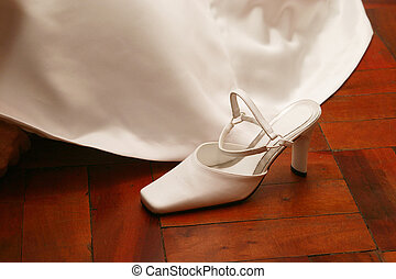bridal shoe - white satin shoe