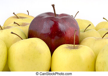 Above the Crowd - A large red apple surrounded by yellow...