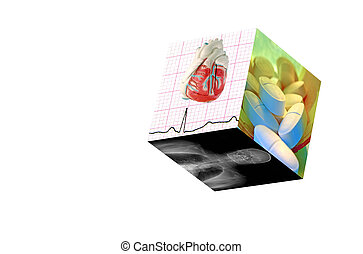 Medical Cube-Isolated - Medical Cube with 3 photos:1Real EKG...
