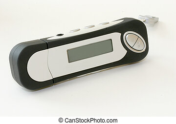 MP3 Player - Macroshot of a black and white mp3 player, on...