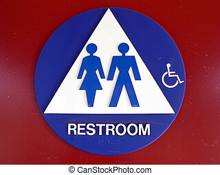 Bathroom placard - Sign indicating a non gender specific...