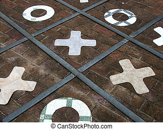Noughts and crosses - Noughts and Crosses game on paving