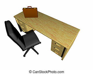 Desk, bureau - Top view on a bureau, desk with briefcase and...