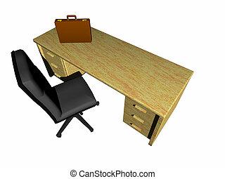 Desk, bureau. - Top view on a bureau, desk with briefcase...