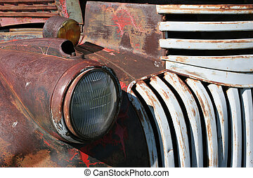 truck headlight - headlight of an old, rusting chevy truck....