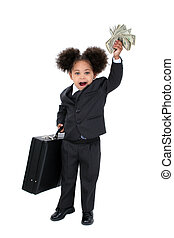 Child Girl Money - Beautiful Little Business Woman With...