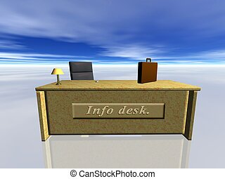 Info Desk. - Info desk, info-desk.  Bryce creation.