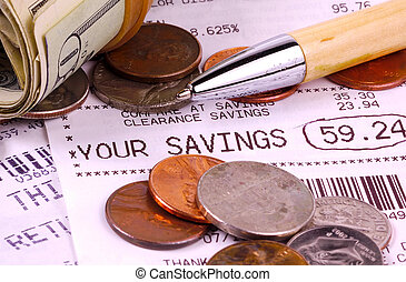 Receipt - Purchase Receipt and Money.  Savings Concept.