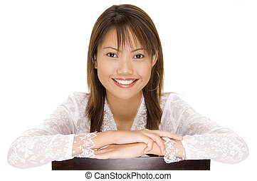 Girl In White 4 - A pretty young asian girl with a gerat...