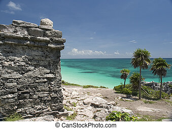 Ruins and sea - Mayan Ruin at Tulum