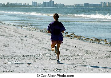 Jogging On Beach - Photographed lady jogging early morning...