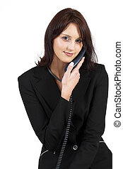 Business Lady 62 - Business woman with blue telephone
