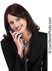 Business Lady 64 - Business woman with blue telephone