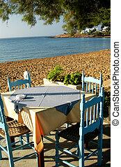 海灘, 邊, 吃晚飯, 希臘