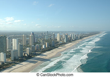 Coastline at Surfer Paradise at Gold Coast