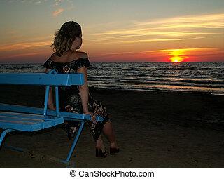 alone woman sunset