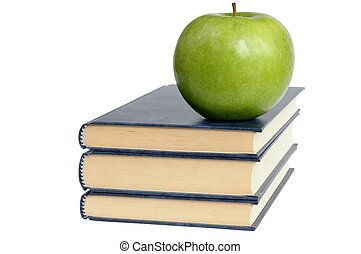 Apple and Books - Isolated books and apple.