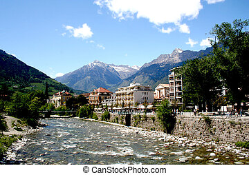 Meran - south tyrol - Digital photo of the river Passer and...