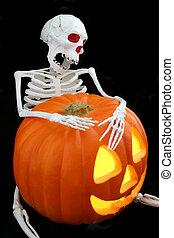 Halloween Bones - A skeleton holding a Jack-O-Lantern,...