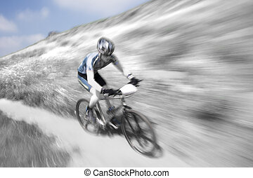 Zoom Blur - Zoom blur, selective coloring, mountain bike...
