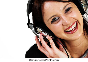 Music 2 - Woman with earphones - High key, High Saturation