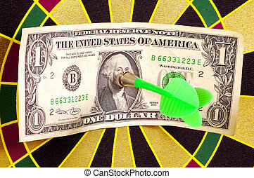 Hit The Target - Dollar Bill on a Dartboard