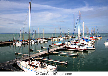 Siofok - Hungary - Digital photo of a harbor in Siofok on...