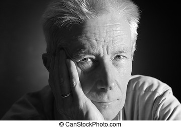 Older man 5 - Goodlooking older man in studio in blackwhite