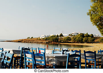 greek islands beach - dining in the greek islands
