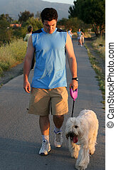 Best friends - Man walking his dog