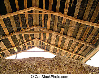 Roff and straw - Village roof, this construction covered...