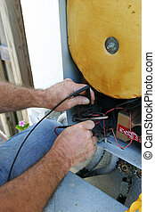 AC Voltage Closeup - A closeup of an air conditioning techs...