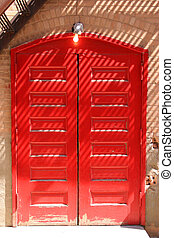 Red doors - Red double doors