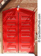 Red doors - Red double doors