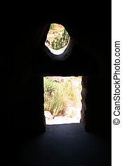 Anasazi View - View from inside the cliff dwellings at...