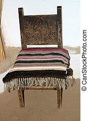 Chair and Blanket - Century old blanket hand-woven from...