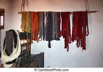 Loom and Yarn - Colorful hanks of natural dyed, hand-spun...